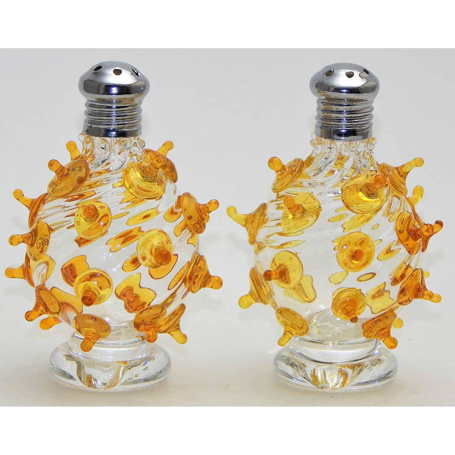 Yellow Poking Ball Blown Glass Salt and Pepper Shaker 200 by Four Sisters Art Glass