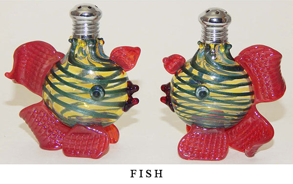 Yellow and Teal Fish Blown Glass Salt and Pepper Shaker 267 by Four Sisters Art Glass