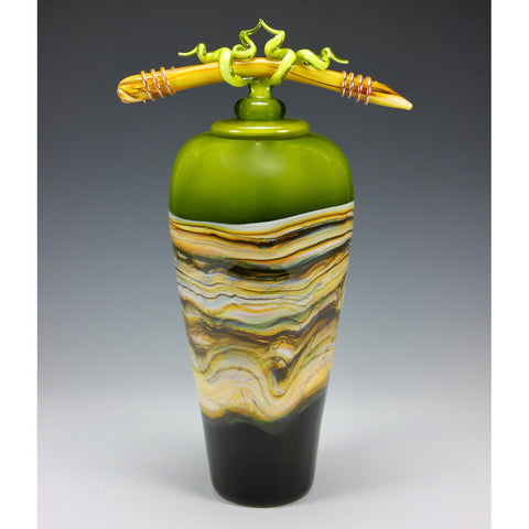 Lime Strata Covered Vessel with Tied Bone Finial in Lime by Gartner Blade Art Glass, Artisan-Crafted Hand-Blown Glass