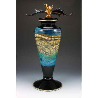 OPAL COVERED FOOTED VESSEL IN BLACK AND TURQUOISE by GARTNER BLADE AMERICAN ART GLASS