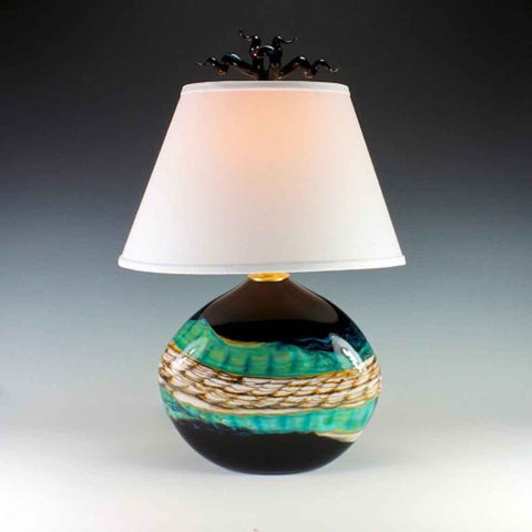 Opal Flat Table Lamp in Black by Gartner Blade Art Glass, Artisan-Crafted Hand-Blown Glass