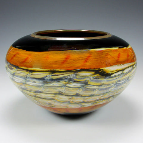 Opal Open Bowl in Black and Tangerine by Gartner Blade Art Glass, Artisan-Crafted Hand-Blown Glass