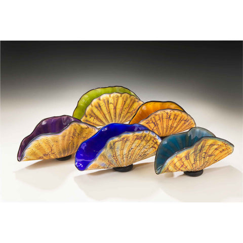 Primitive Shells Front to Back Aqua Cobalt Amethyst Topaz and Lime Sculptures by Gartner Blade Art Glass, Artisan-Crafted Hand-Blown Glass