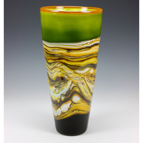 Strata Cone Vessel in Lime by Gartner Blade Art Glass, Artisan-Crafted Hand-Blown Glass
