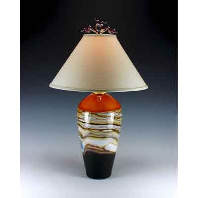 Strata Table Lamp in Tangerine by Gartner Blade Art Glass, Artisan-Crafted Hand-Blown Glass Table Lamps