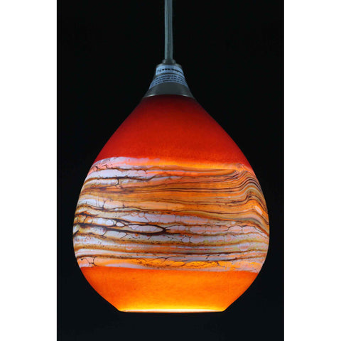Strata Teardrop Pendant in Ruby and Tangerine by Gartner Blade Art Glass, Artisan-Crafted Hand-Blown Glass