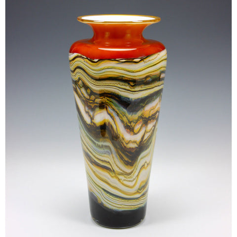Strata Traditional Urn Vase in Tangerine by Gartner Blade Art Glass, Artisan-Crafted Hand-Blown Glass