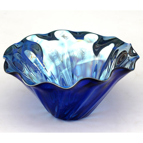 Clam Glass Bowl Shown In Dark Blue by Glass Rocks Dottie Boscamp, Artistic, Artisan-Crafted Hand-Blown Glass Bowls