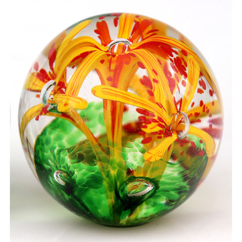 Glass Flower Paperweight Shown In Yellow Green by Glass Rocks Dottie Boscamp, Artistic, Artisan-Crafted Hand-Blown Glass Paperweights