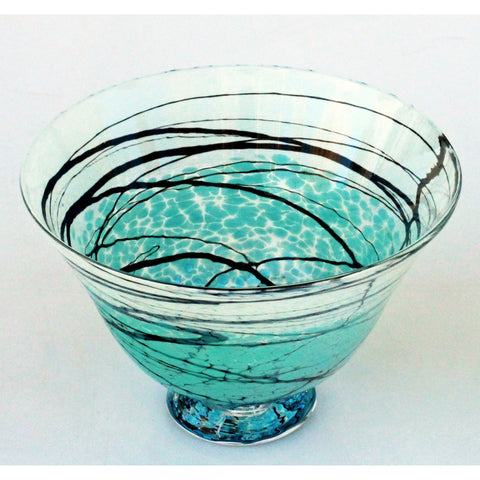 Lightning Series Wide Glass Bowl by Glass Rocks Dottie Boscamp, Artistic, Artisan-Crafted Hand-Blown  Glass Bowls
