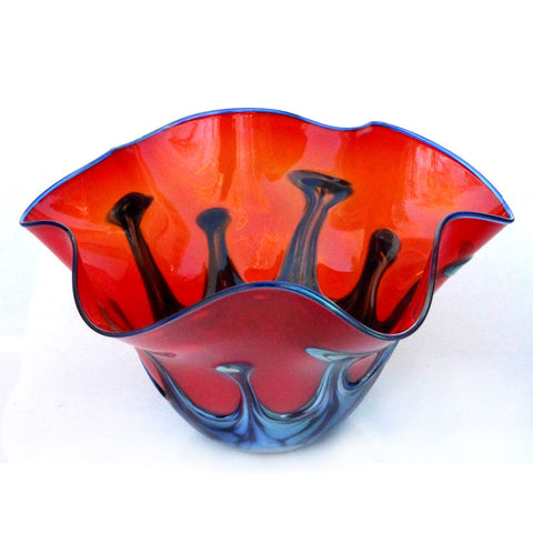 Red Lily Pad Glass Bowl by Glass Rocks Dottie Boscamp, Artistic, Artisan-Crafted Hand-Blown Glass Bowls