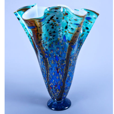 XL Ocean Forest Handkerchief Vase by Grateful Gathers Glass, Danny Polk Jr