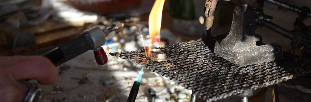JL Walsh Metalsmith Jewelry Working in Her Studio 4