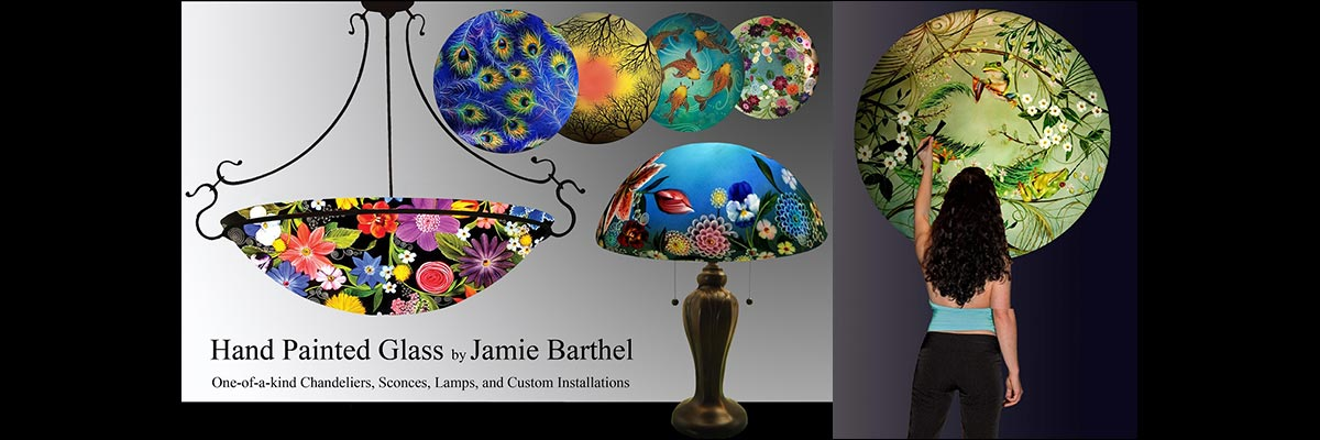 Jamie Barthel Reverse Painted Glass Chandeliers and Lamps