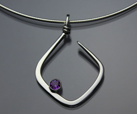 John Tzelepis Jewelry Sterling Silver Amethyst Pendant Necklace PEN050AM Handcrafted Artistic Artisan Designer Jewelry