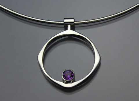 John Tzelepis Jewelry Sterling Silver Amethyst Pendant Necklace PEN070AM Handcrafted Artistic Artisan Designer Jewelry