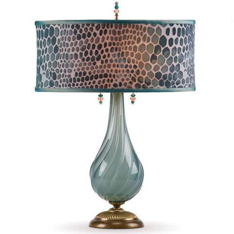 Kinzig Design Angela Table Lamp 168 AJ 144, Soft Grey Green Blown Glass with Jade Green Hand-painted Fabric