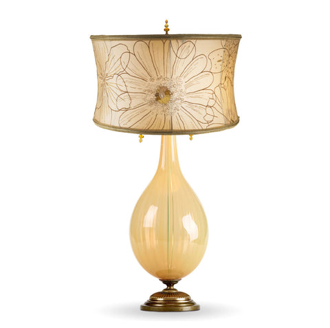 Kinzig Design Charlotte Table Lamp 54 K 54, Opalescent Beige Blown Glass With Embroidered Cream Dupioni Silk Shade