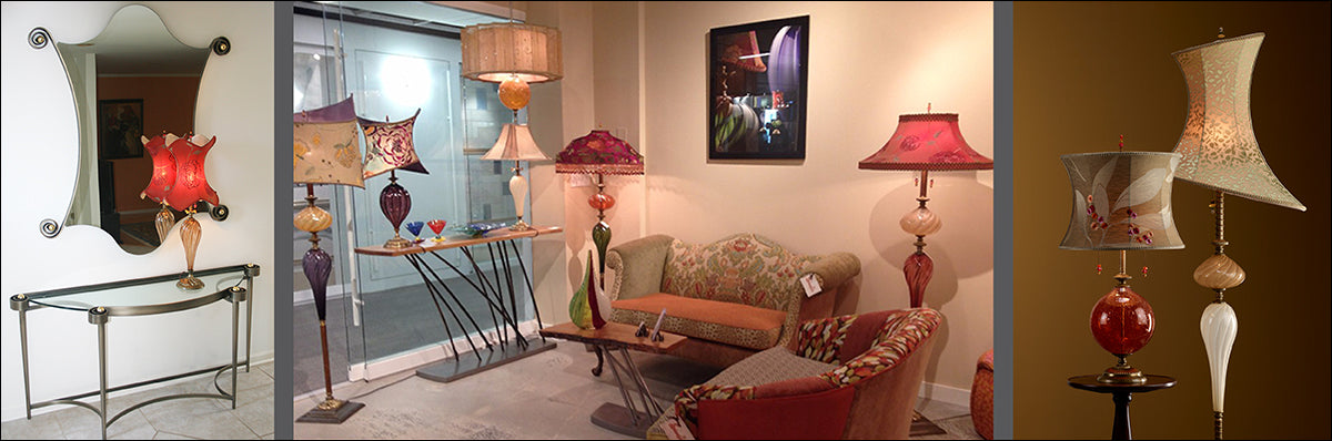 Kinzig Design Lamps, Interior Setting, Hand Blown Glass Lamps, Artistic, Artisan-Crafted Hand-blown Lamps