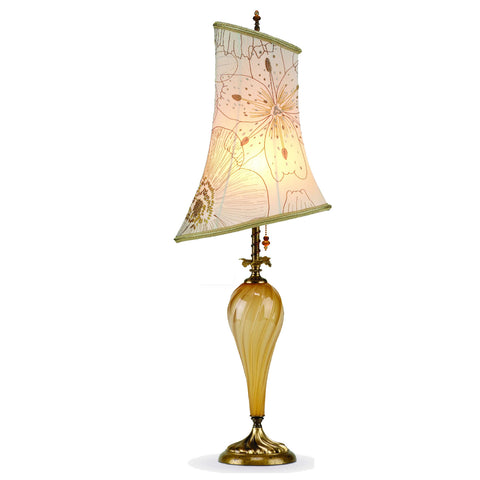Leyla Gold Table Lamp 151 H 54 by Kinzig Design, Gold Opaque Blown Glass with Asymmetric Embroidered Silk Shade