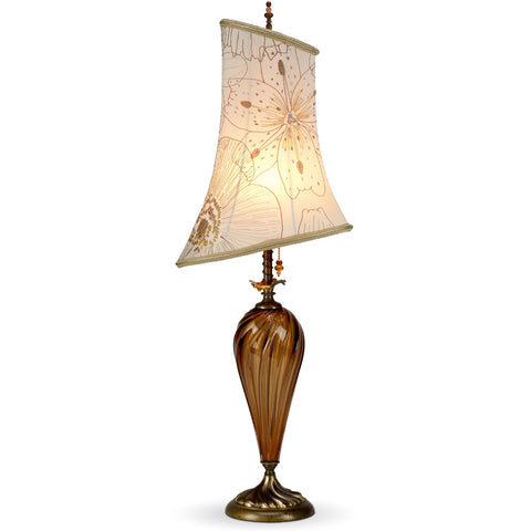 Leyla In Brown Table Lamp 66 H 54 by Kinzig Design, Brown Amber Blown Glass With Asymmetric Embroidered Silk Lamp Shade