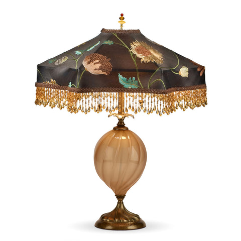 Kinzig Design Roberta Table Lamp 41 P 47 Opaque Gold Blown Glass with Brown Embroidered Silk Shade