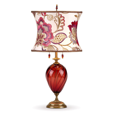 Kinzig Design Scarlett Table Lamp 170 I 148, Red Blown Glass, White Scarlett Pink Gold and Purple Embroidered Shade