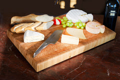 Larch Wood Cutting and Serving Boards with Food display-1