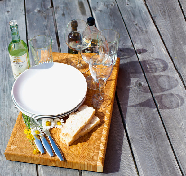 Larch Wood Cutting and Serving Boards with Food display-2