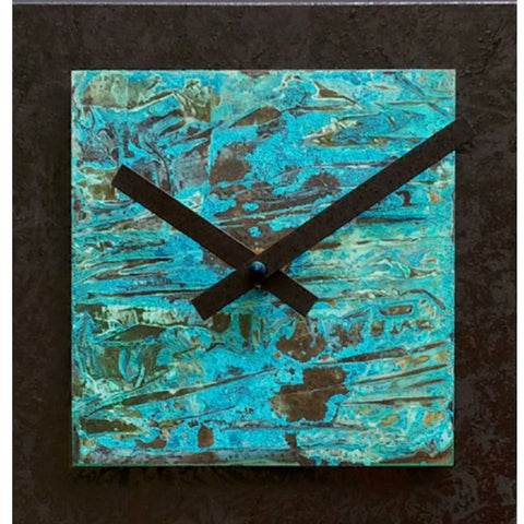 8x8 Square Black with Verdigris Copper Wall Clock by Leonie Lacouette