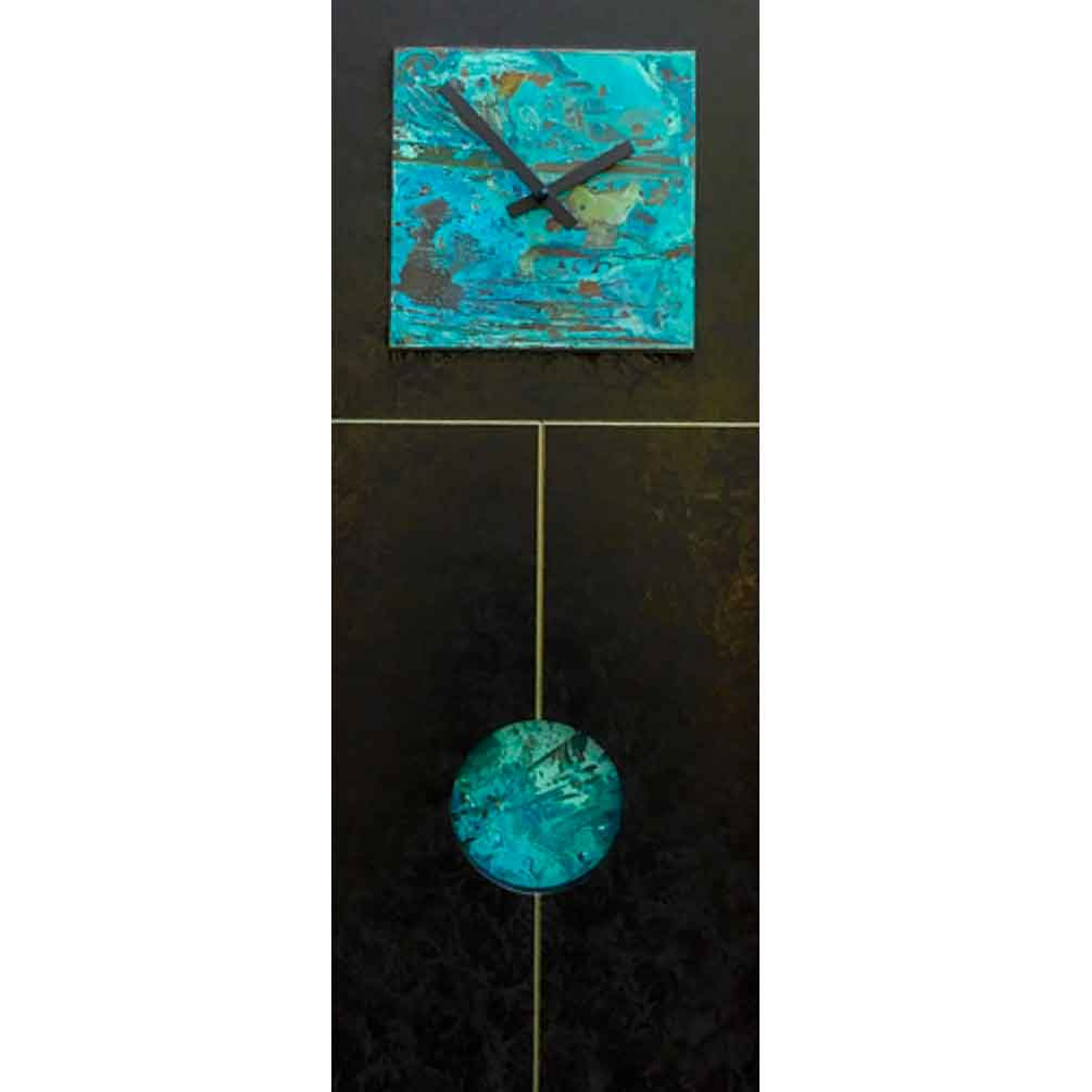 Black and Verdigris Jane Pendulum Wall Clock by Leonie Lacouette