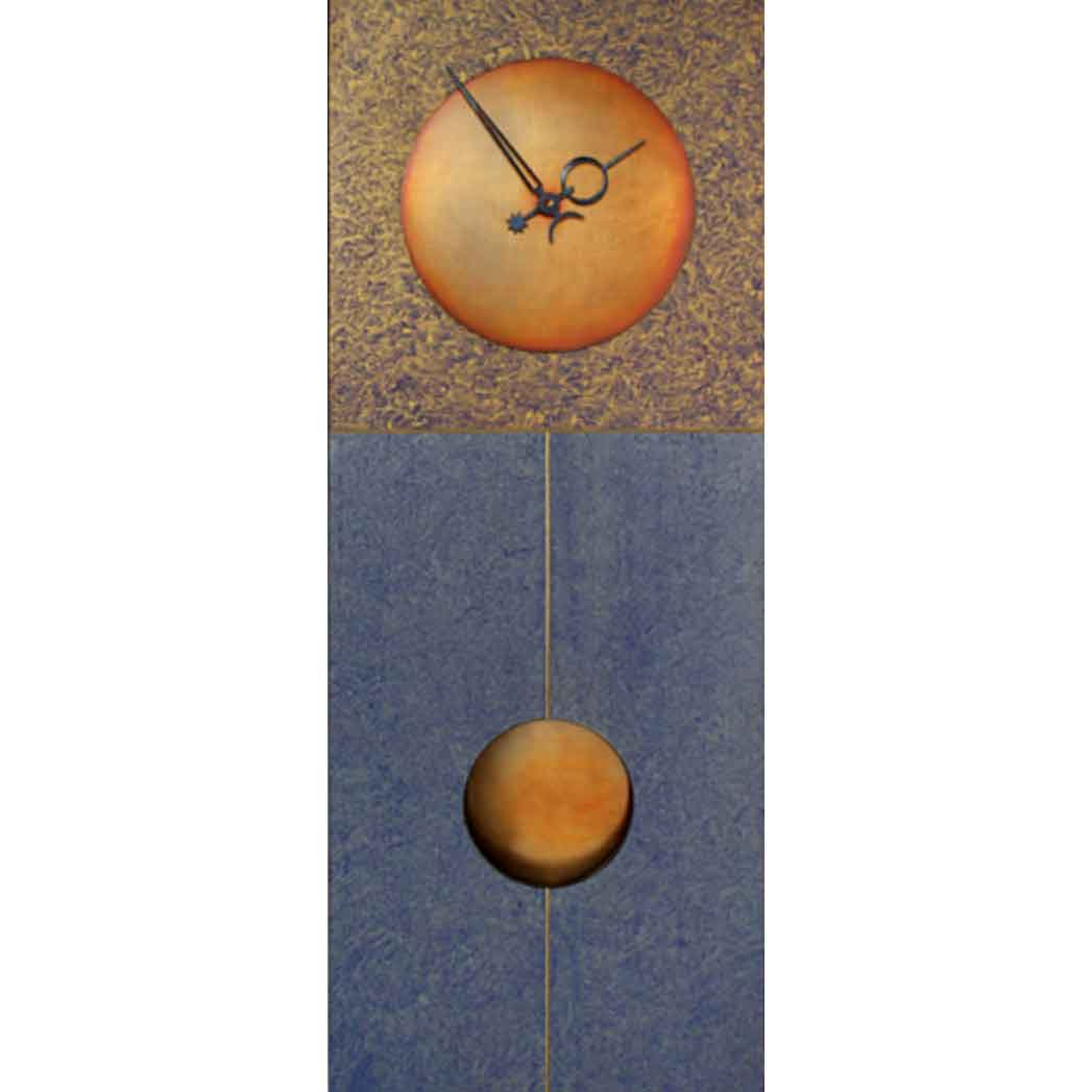 Blue and Gold Jane Pendulum Wall Clock by Leonie Lacouette