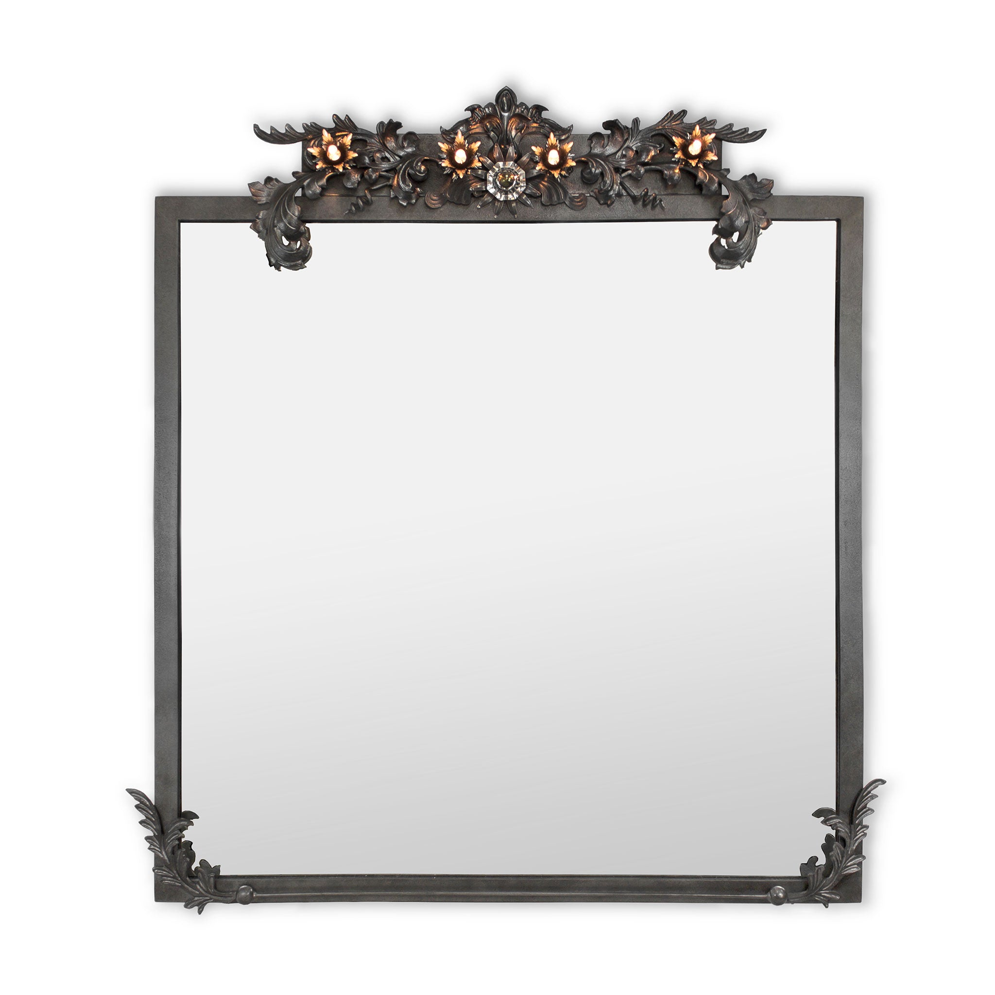Florette Mirror with Halogen Lights, Forge Iron, Finish Blackened Steel by Luna Bella