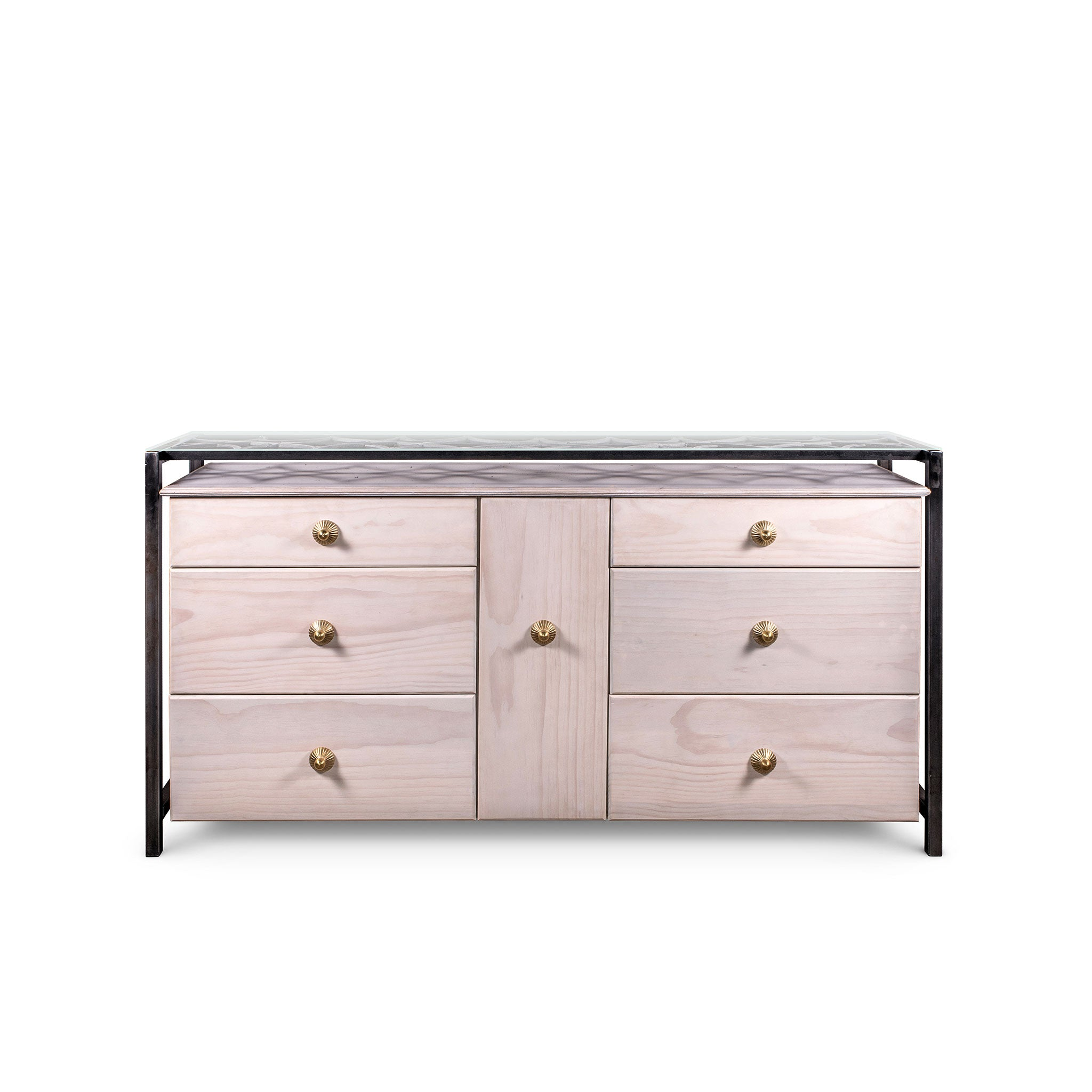 Ginger Dresser, White Wood, Metal, Finish Pewter Tones, Solid Brass, Crystals, Glass on Top by Luna Bella