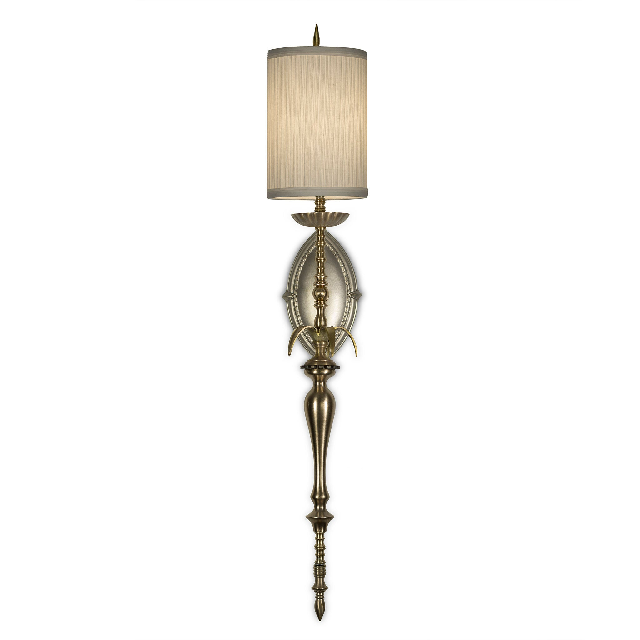 Nanty Sconce, Brass, Cream Pleated Shade by Luna Bella