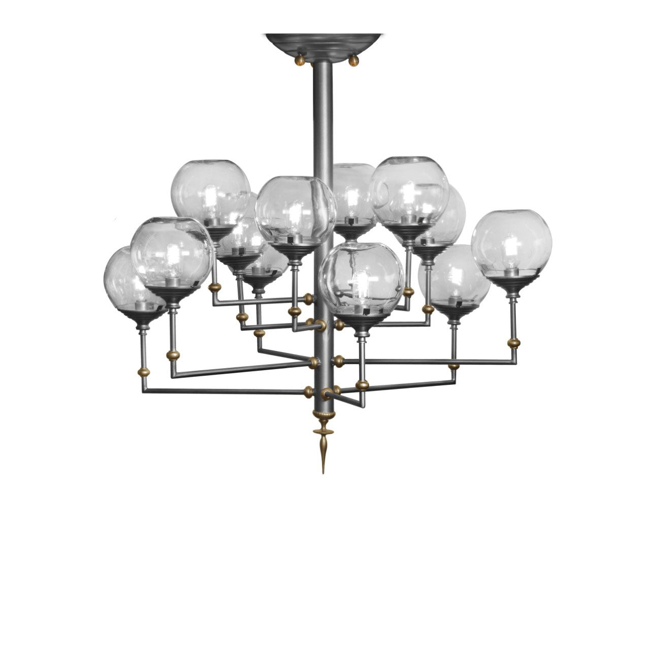 "Orbit Chandelier, Iron, Brass, Twelve 8"" Clear Glass Shades by Luna Bella"