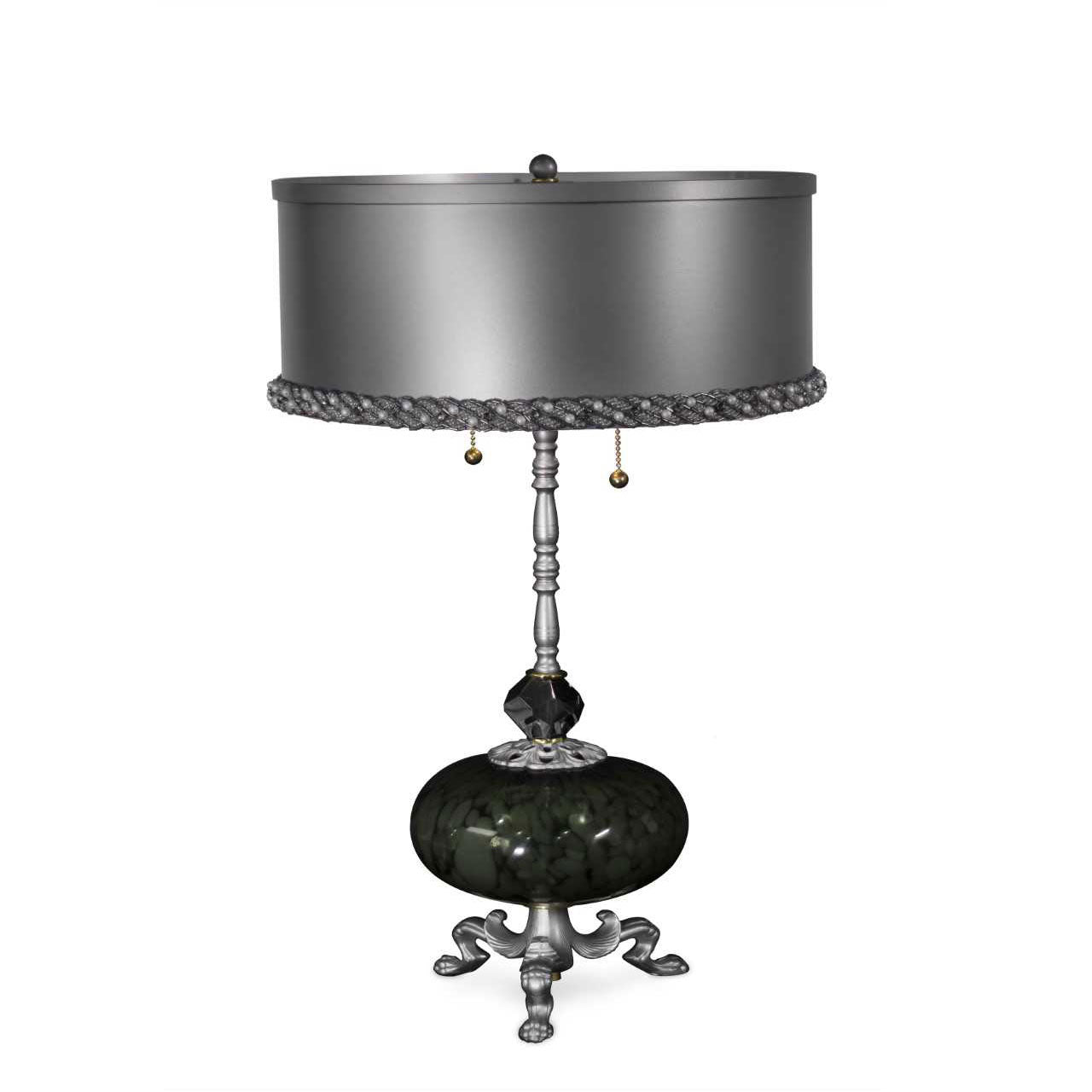 Sinclair Table Lamp, Iron, Brass, Pewter Color, Blown Glass Centerpiece, Crystals by Luna Bella