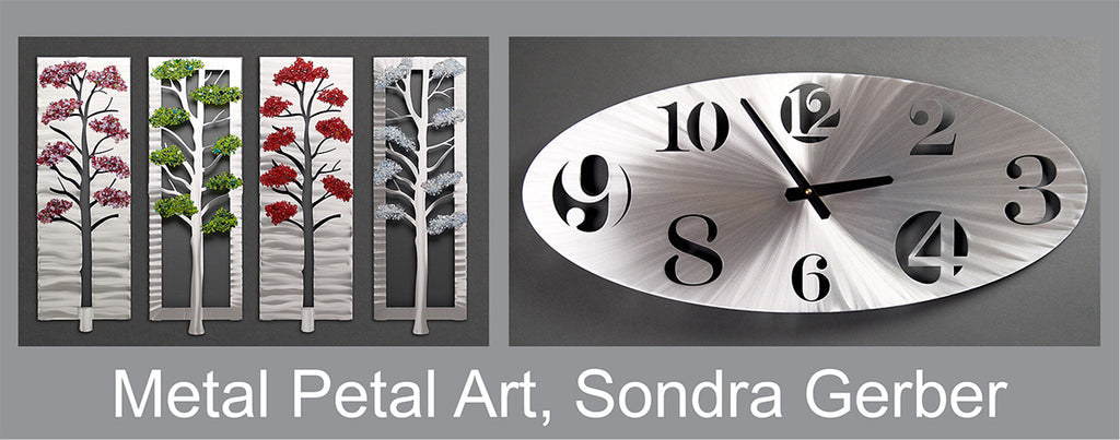 Metal Petal Art Sondra Gerber Brushed Aluminum Wall Art and Clocks
