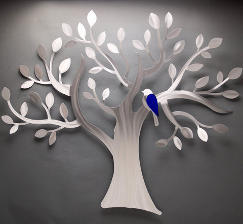 Fly Away Tree with Blue Bird Wall Art Sculpture by Sondra Gerber creator of Metal Petal Art