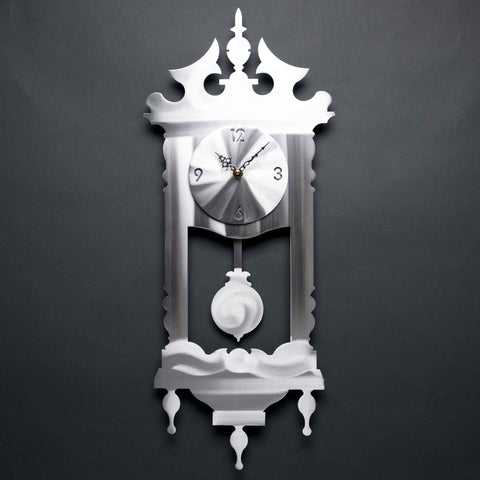Grandmas Clock C010 in Brushed Aluminum by Sondra Gerber creator of Metal Petal Art