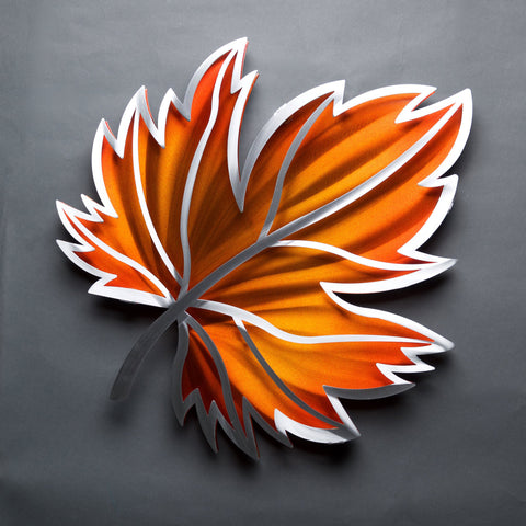 Maple Leaf in Orange Wall Art Sculpture by Sondra Gerber creator of Metal Petal Art