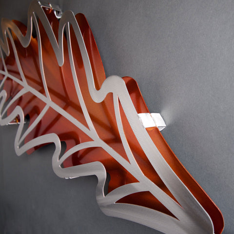 Oak Leaf in Orange Wall Art Sculpture by Sondra Gerber creator of Metal Petal Art