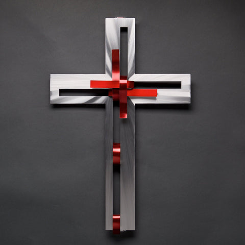 Red Ribbon Cross Wall Art Sculpture by Sondra Gerber creator of Metal Petal Art