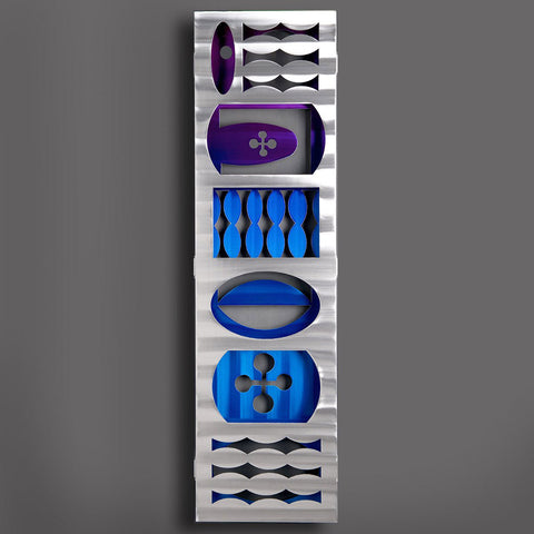 Rewind Vertical Wall Art in Night Sculpture by Sondra Gerber creator of Metal Petal Art