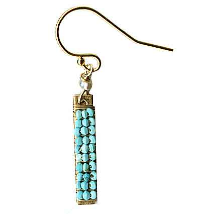 Bars Earrings 4934 with Turquoise by Michelle Pressler Jewelry, Artistic Artisan-Crafted Designer Jewelry