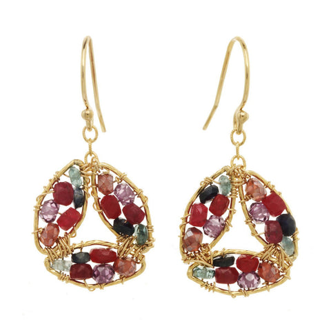 Amethyst and Ruby Earrings 2846 by Michelle Pressler Jewelry, Artistic Artisan Designer Jewelry