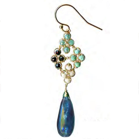 Blue Kyanite Turquoise Earrings 4717A by Michelle Pressler Jewelry, Artistic, Artisan-Crafted Designer Jewelry