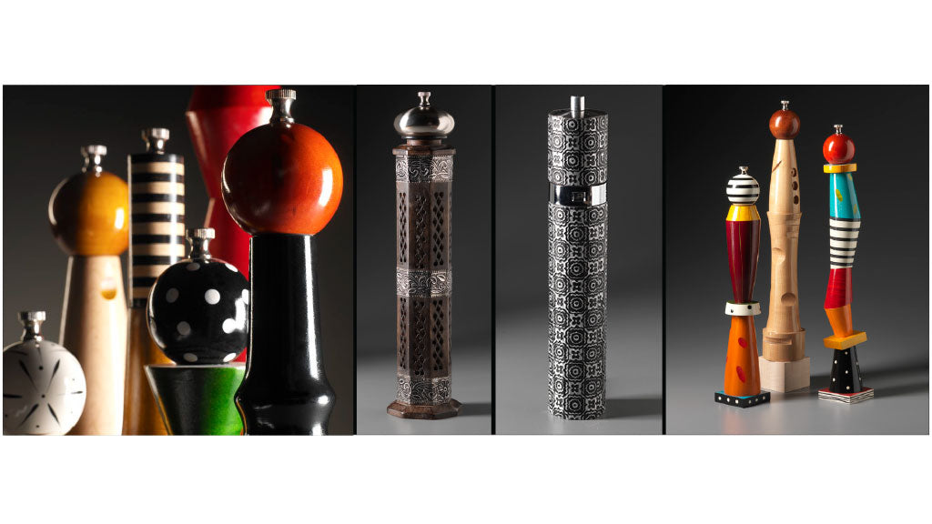 Artistic, Colorful Salt Shakers and Pepper Mills, Pepper Grinders