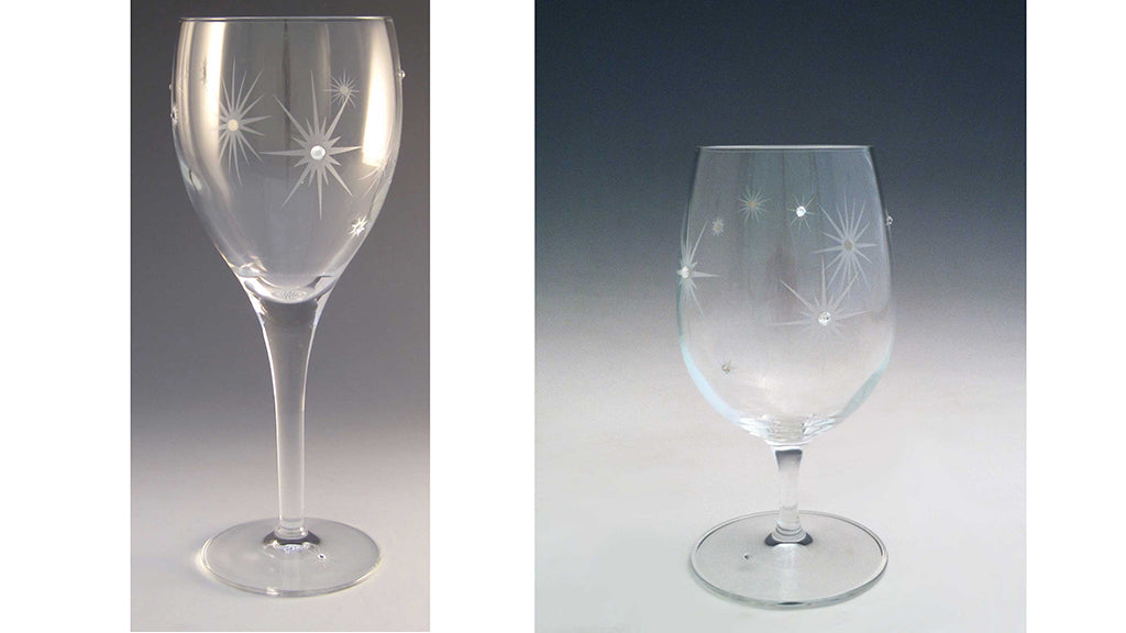 Twinkle Wine and Drink Glasses by artist, designer Kathryn Gooding, Asta Glass