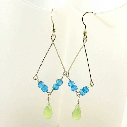 White Cloud Creations, Joseph Cozad, Earrings E14488, Blue Apatite And Sea Green Chalcedony With Argentium Silver, Beaded, Handcrafted, Hypoallergenic Chandelier Earrings